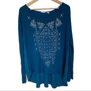 Jaclyn Smith long sleeve high low studded blouse